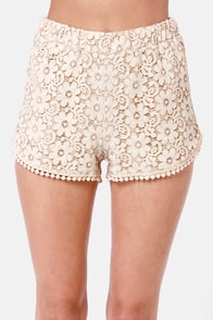 Run for the Honey Beige Lace Shorts at Lulus.com!