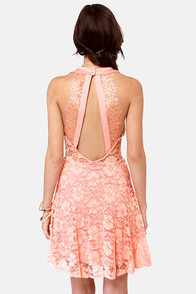 Forever a Flirt Peach Lace Dress at Lulus.com!