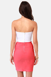 LULUS Exclusive Bow Down Strapless White and Coral Dress at Lulus.com!