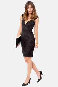 LULUS Exclusive Lace Your Bets Black Lace Midi Dress at Lulus.com!