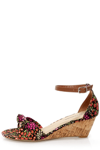 City Classified Rigel Black Multi Floral Print Wedge Sandals