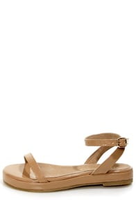 Very Volatile Melrose Nude Patent Flatform Sandals at Lulus.com!