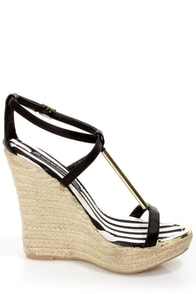 Wild Diva Lounge Madison 50B Black T-Strap Espadrille Wedges at Lulus.com!