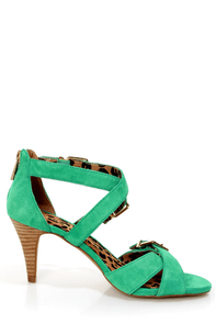Jessica Simpson Eugenias Palmetto Green Strappy Belted Heels at Lulus.com!