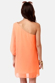 C'mon Get Happy One Shoulder Bright Peach Dress at Lulus.com!