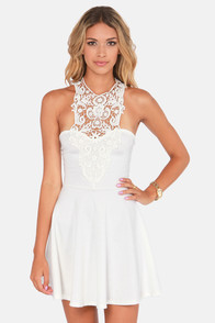 What a Crush Ivory Lace Halter Dress at Lulus.com!
