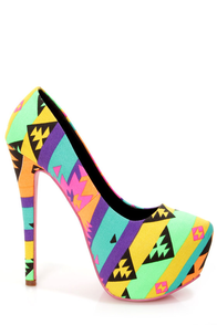 Privileged Cray Black and Yellow Neon Tribal Platform Pumps at Lulus.com!