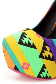 Privileged Cray Black and Yellow Neon Tribal Platform Pumps at Lulus.com!
