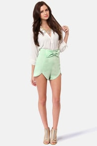 All Systems Bow Sage Green Shorts at Lulus.com!