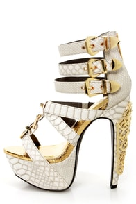 Privileged Victory White Croc and Gold Belted Platform Heels