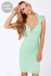 LULUS Exclusive Lace Your Bets Mint Green Lace Midi Dress