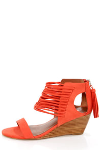 Matiko Bryn II Papaya Strappy Ankle Cuff Wedge Sandals at Lulus.com!