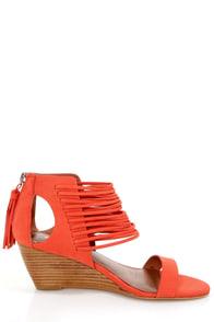 Matiko Bryn II Papaya Strappy Ankle Cuff Wedge Sandals at Lulus.com!