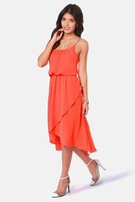 There's a Strap For That Orange High-Low Dress at Lulus.com!