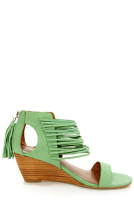 Matiko Bryn II Peppermint Strappy Ankle Cuff Wedge Sandals at Lulus.com!