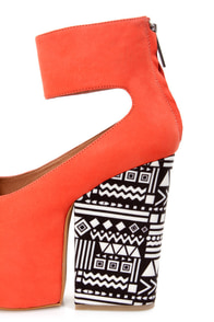 Matiko Francesca Papaya and Tribal Print Platform Wedge Heels at Lulus.com!