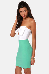 LULUS Exclusive Bow Down Strapless White and Mint Green Dress at Lulus.com!
