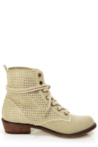Dirty Laundry Play Time Natural Perforated Lace-Up Ankle Boots at Lulus.com!