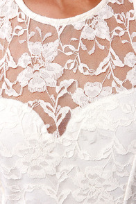 Forever a Flirt Ivory Lace Dress at Lulus.com!