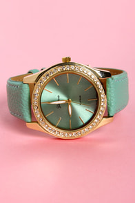 Tick Tock of the Town Mint Green and Gold Watch at Lulus.com!