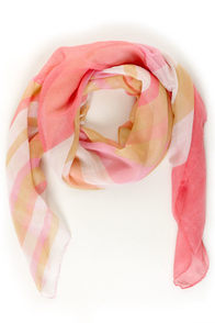 Pinky Promise Pink and Peach Striped Scarf