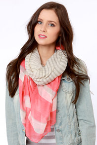 Au Revoir Grey and Coral Pink Striped Scarf at Lulus.com!
