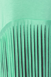 Front Cuts Mint Green Fringe Top at Lulus.com!
