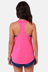 Billabong My Kind of Peace Hot Pink Print Tank Top at Lulus.com!
