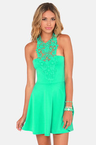 What a Crush Mint Green Lace Halter Dress