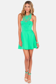 What a Crush Mint Green Lace Halter Dress at Lulus.com!