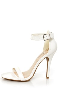 Anne Michelle Enzo 01 White Ankle Strap Heels