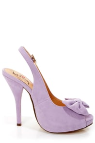 Luichiny Taylor Lilac Suede Bow Peep Toe Slingback Heels at Lulus.com!