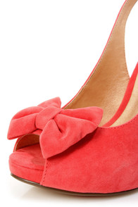 Luichiny Taylor Hot Coral Suede Bow Peep Toe Slingback Heels at Lulus.com!
