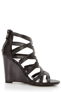 Bamboo Royce 02 Black Strappy Cage Wedge Sandals at Lulus.com!