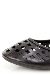 Jaclyn 11 Black Ankle Cuff Cutout Flats at Lulus.com!