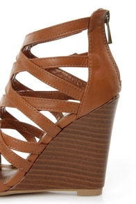 Bamboo Royce 02 Chestnut Brown Strappy Cage Wedge Sandals at Lulus.com!