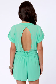 Surfing Safari Mint Green Romper at Lulus.com!