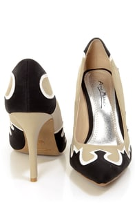 Anne Michelle Momentum 27 Taupe and Black Western Pointed Pumps at Lulus.com!