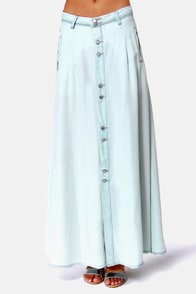 Blank NYC The Sweeper Light Blue Maxi Skirt at Lulus.com!