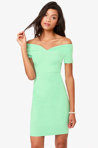 Meant to Be Off-the-Shoulder Mint Green Dress