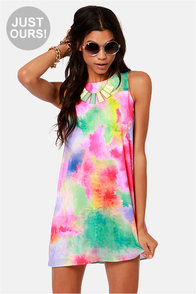 LULUS Exclusive Splash-ay! Shantay! Tie-Dye Print Shift Dress