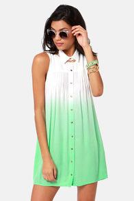 Mink Pink Great White Mint Green Ombre Shirt Dress