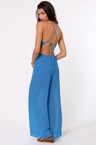 Livin' Large Backless Blue Jumpsuit