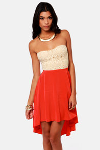 High-Low Can You Go? Beige and Coral Red Strapless Dress at Lulus.com!