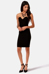 One Heart Wonder Strapless Black Dress