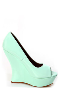 Paris Mint Patent Peep Toe Platform Wedges at Lulus.com!