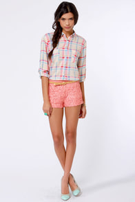 Bead-y or Not Beaded Lace Coral Shorts at Lulus.com!