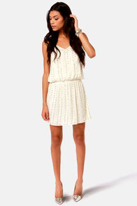 Romeo and Jewel-iet Beaded Ivory Dress at Lulus.com!