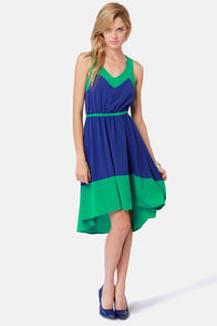 Lucy Love Estelle Blue and Green Dress at Lulus.com!