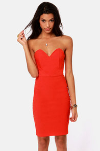 One Heart Wonder Strapless Red Dress